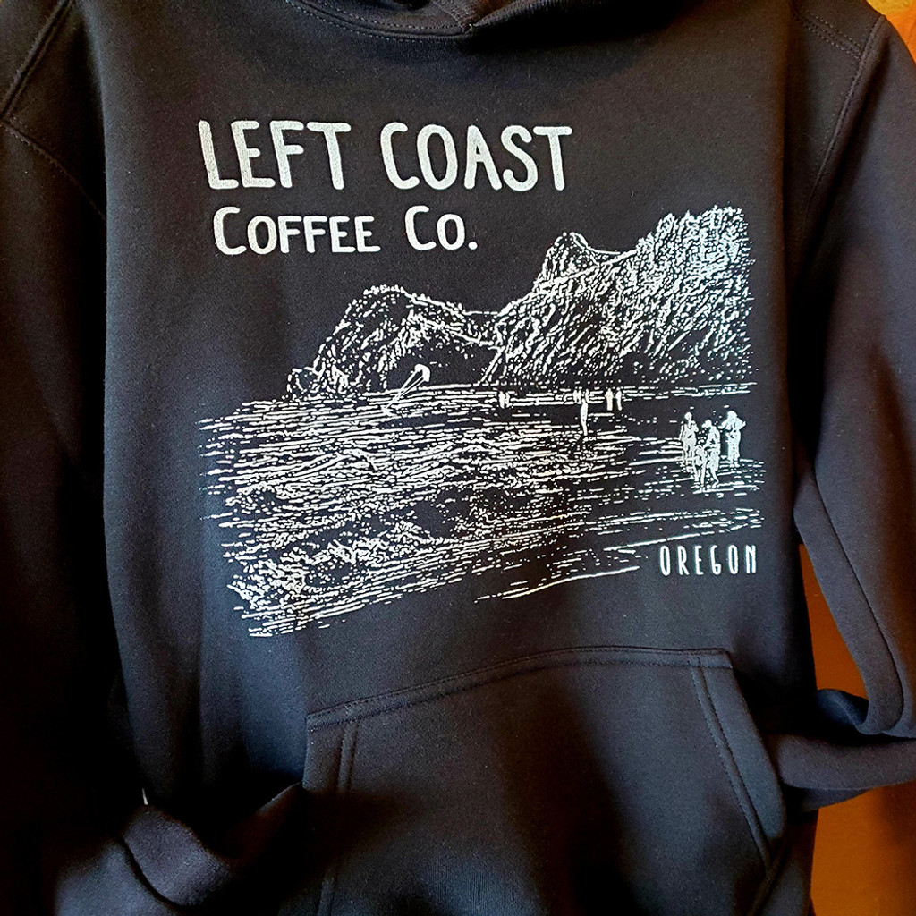 Left Coast Logo Sport Fit Stringless Hoodie - Black
