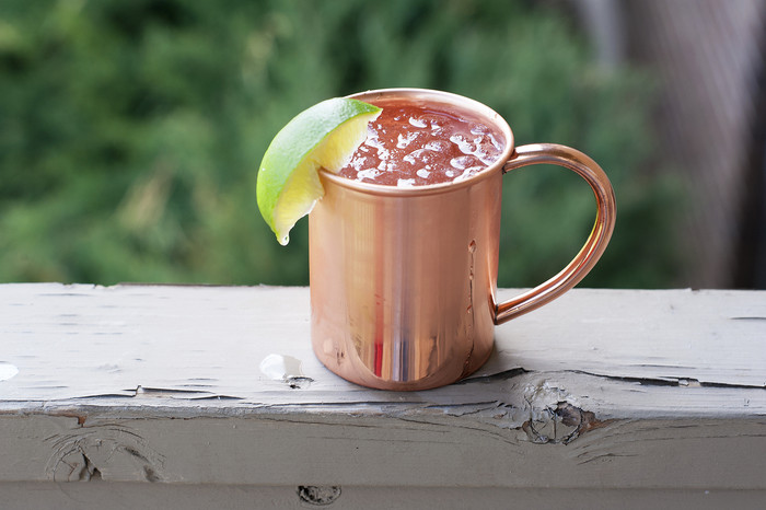 Pure Copper Moscow Mule Mug With Handle on Wood