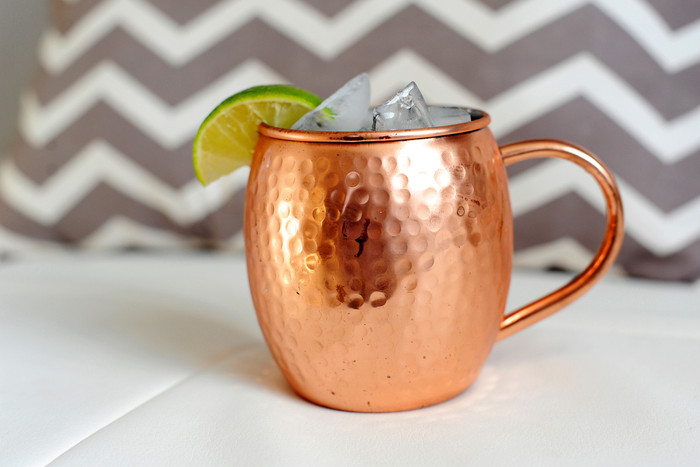 Hammered Barrel Shape Pure Copper Moscow Mule Mug with Nickel Lining 16 oz