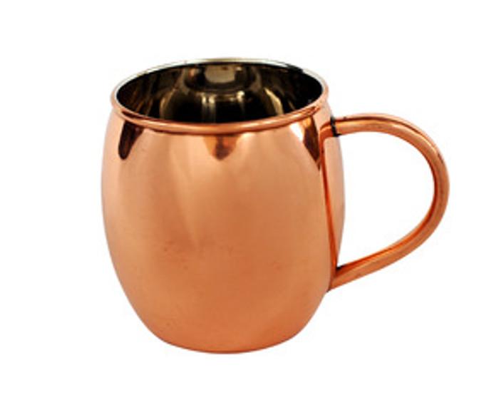 16 oz Barrel Shape Pure Copper Moscow Mule Mug with Nickel Lining