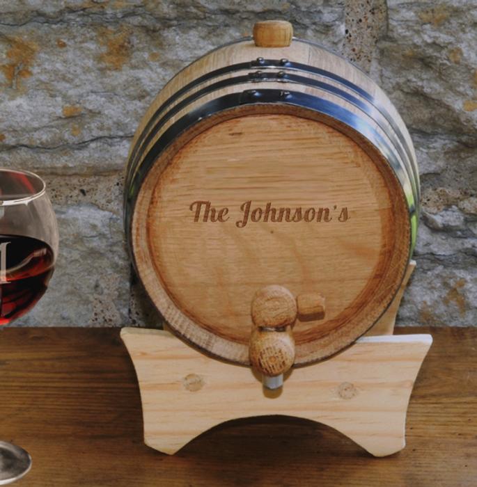 2 Liter Steel-Banded Oak Mini Wine Barrel Cask