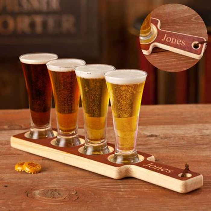 Personalized Wood Carved Beer Flight Tasting Set with Set of 4 Mini-Pilsners