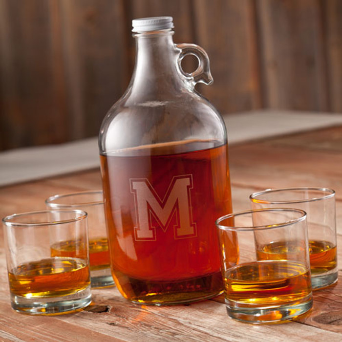 Personalized Whiskey Growler Set with 4 12 oz beer glasses