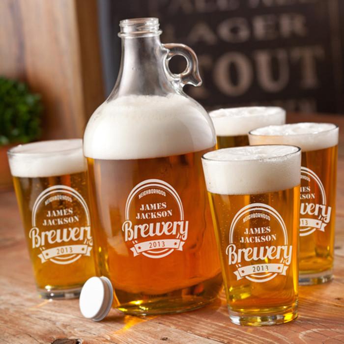 64oz Printed Whiskey Growler Set With Beer Glasses