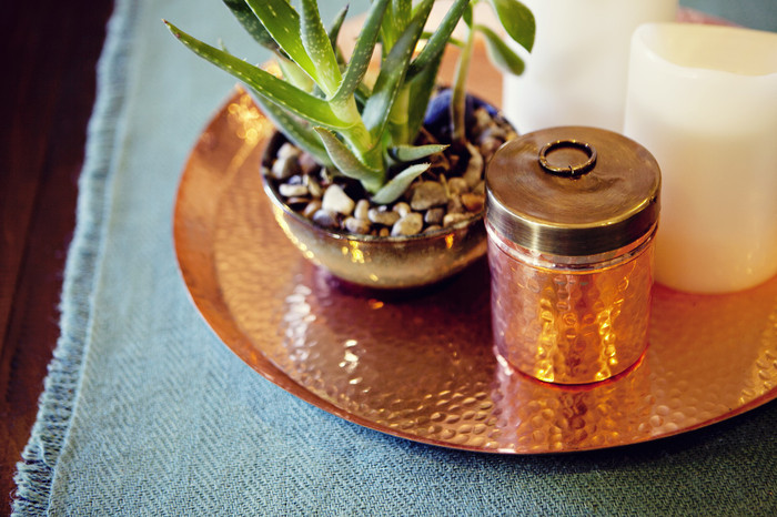 Copper Jar with Brass Lid