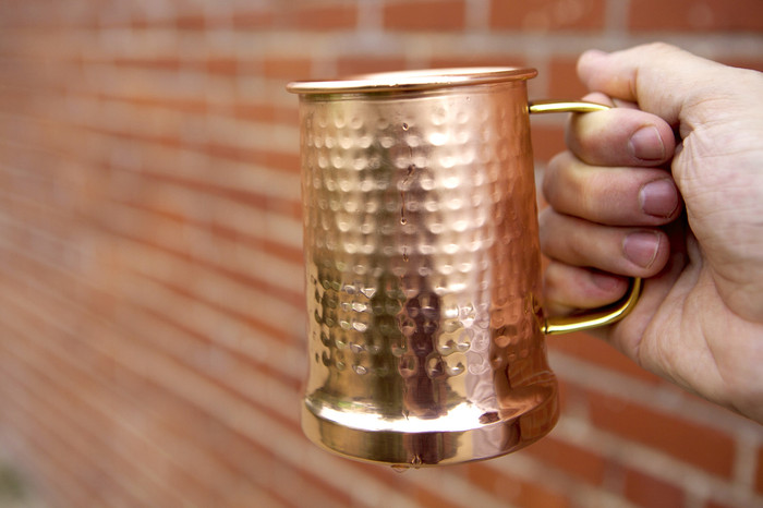 Hammered Copper beer stein with brass handle