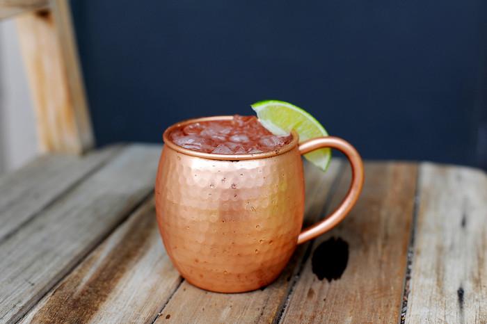 Hammered Barrel Shape Moscow Mule Copper Mug 16 oz