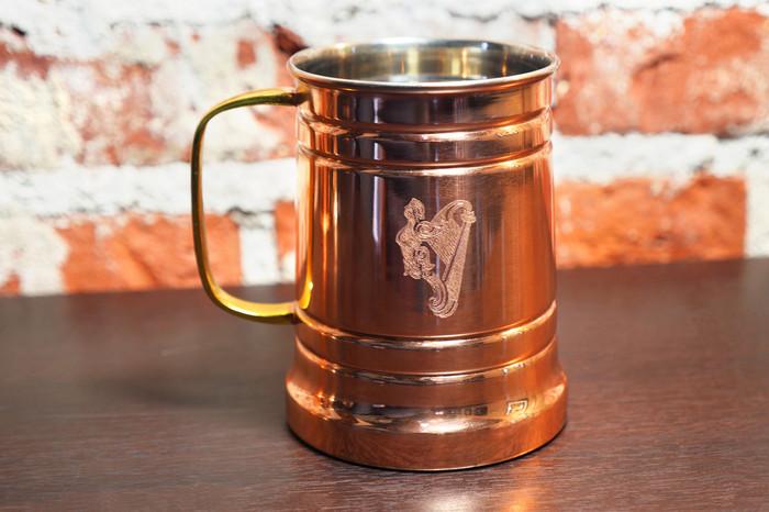 Engraved copper beer stein