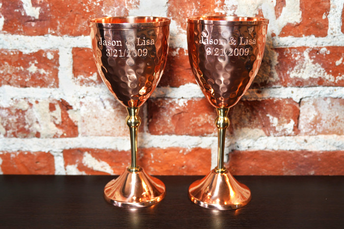 Engraved Copper Wine Glasses (Set of 2)