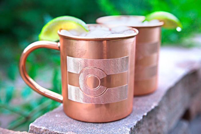 Colorado Flag Copper Mugs - Set of 2 14 oz Mugs