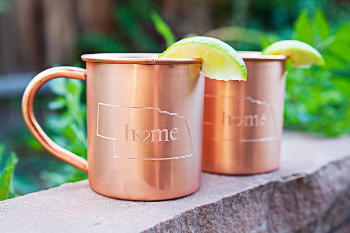 Nebraska Home Copper Mugs - Set of 2 14 oz Mugs