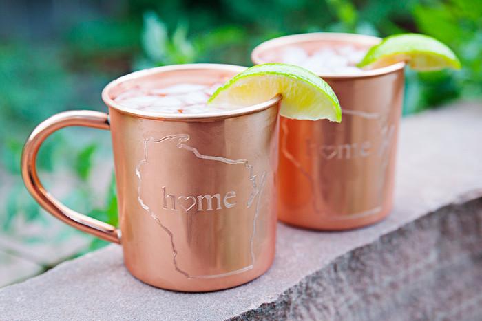 Wisconsin Home Copper Mugs - Set of 2 14 oz Mugs