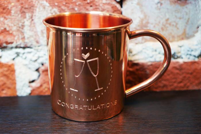 Engraved copper mug