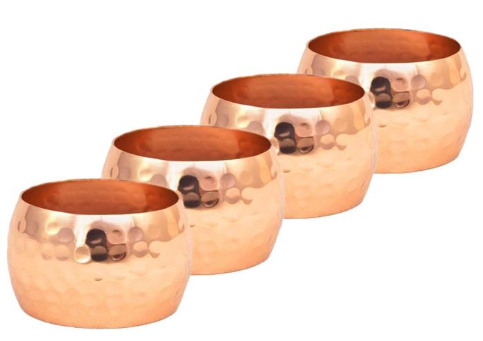 Hammered Copper Napkin Ring Set