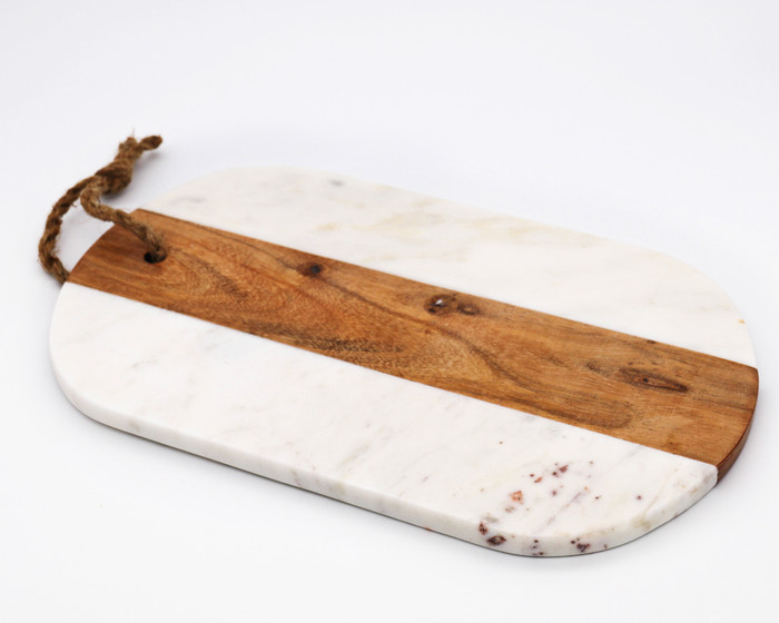 """White Marble and Wood Cutting Board - 7"""""""