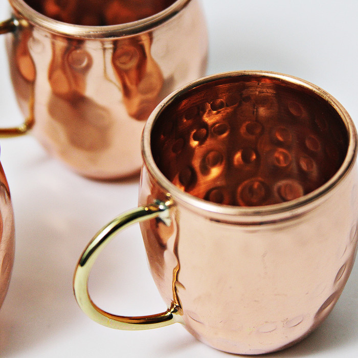 Hammered Copper Barrel Shot Glass - 2 oz (Set of 4)