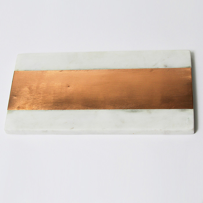 White Marble Serving Board with Copper Inlay - 12""