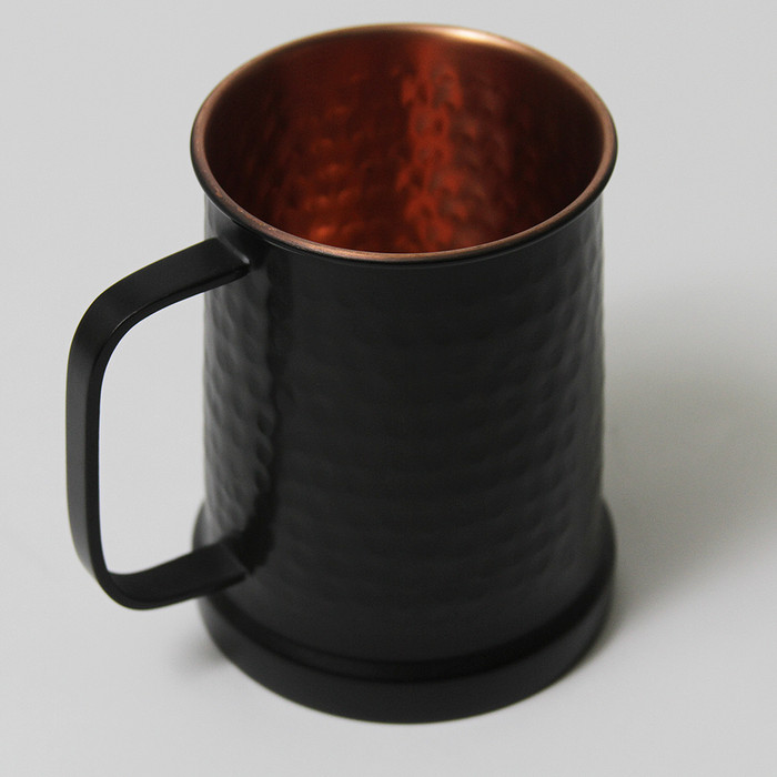 Hammered Copper Beer Stein with Matte Black Finish Outside - 20 oz