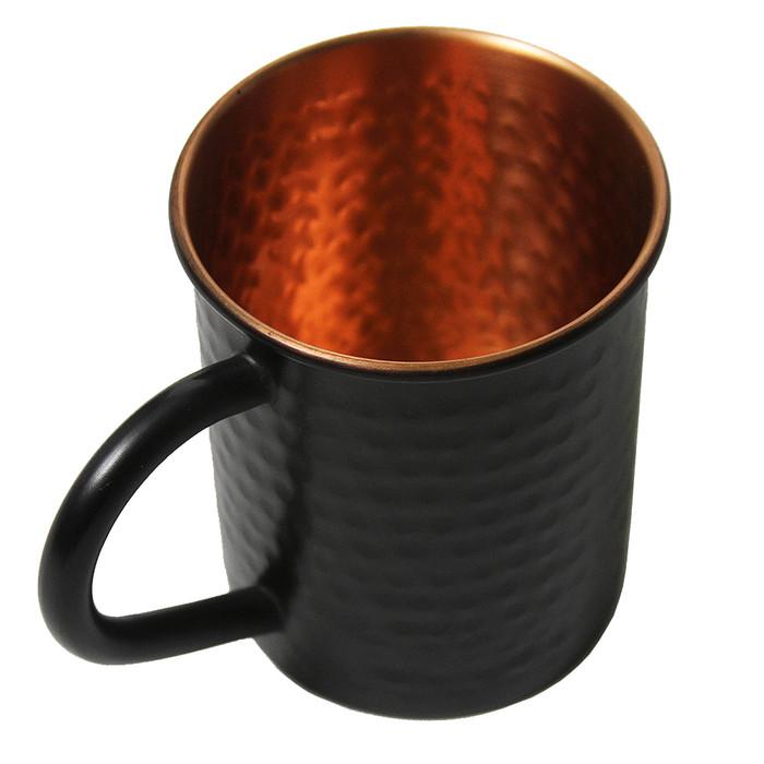 Hammered Copper Mug Matte Black Finish