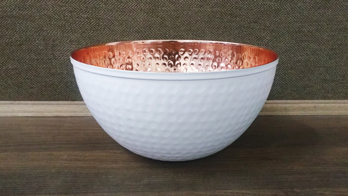 Copper and white mixing bowl