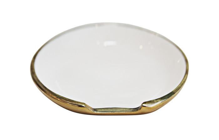 Brass and enamel spoon rest or trinket dish