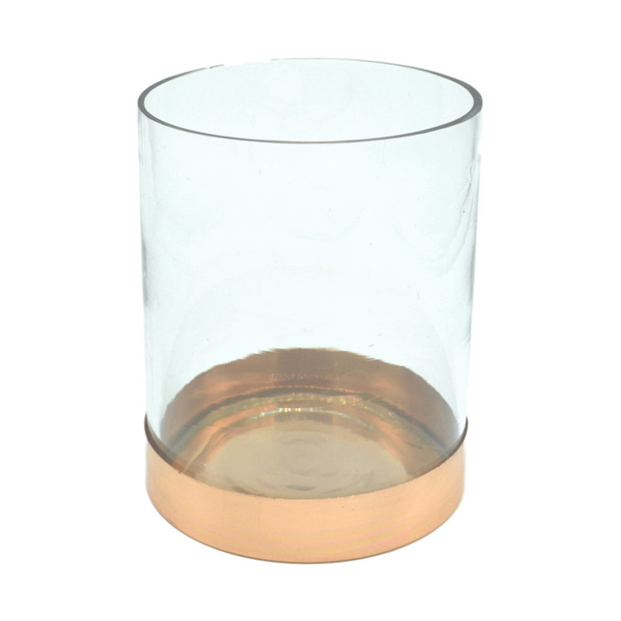 Short Round Glass Vase with Copper Base