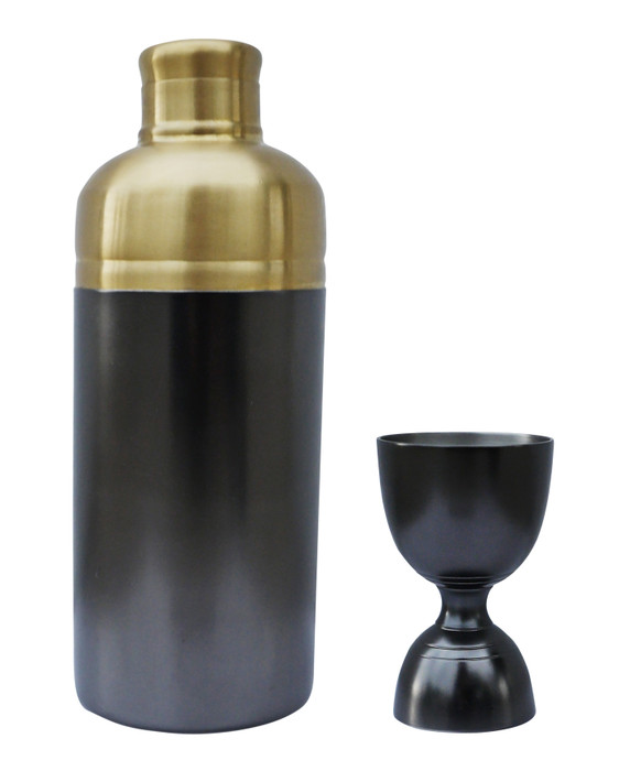 Nickel and Brass Cocktail Jigger & Shaker Set | Quality Professional Strainer Black & Gold by Alchemade