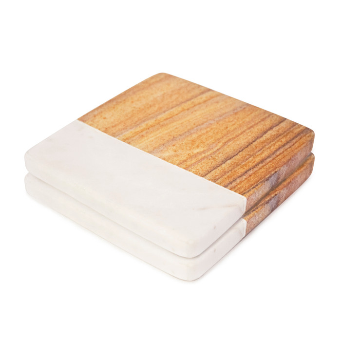 White and Beige Stone Coasters (Set of 2)