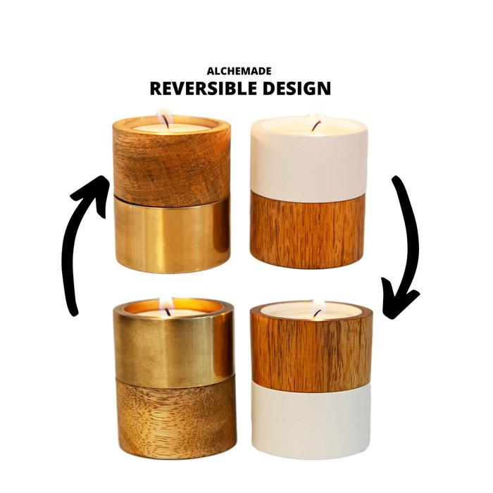 Wood & Metal Tea Light Candle Holders (Set of 2)