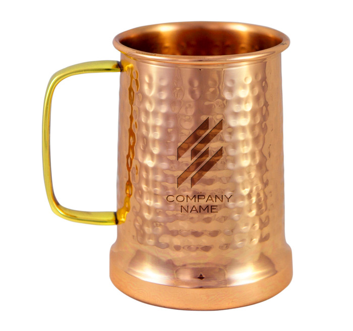 Engraved hammered copper beer stein