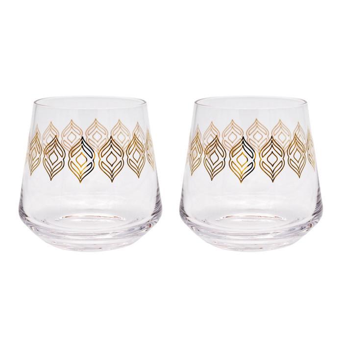 16 oz Whiskey or Wine Glasses with Metallic Design