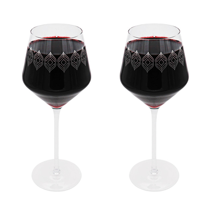 15 oz Wine Glasses with Frosted Design (Set of 2)