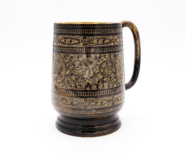 Rustic Etched Black Brass Beer Stein (20 oz)