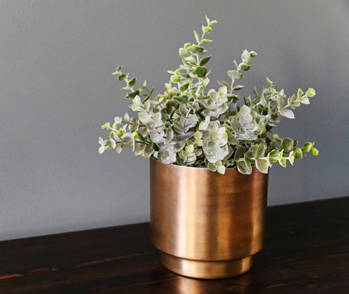 Small Antiqued Brass Planter