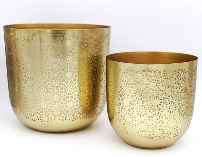 Brass Planters with Etched Design (set of 2)