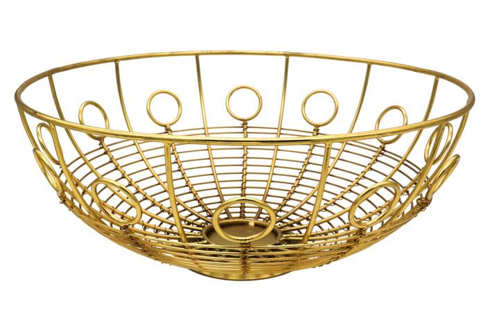 Alchemade Brass Iron Round Basket-For Open Storage Decoration-5 Inches x 12 Inches