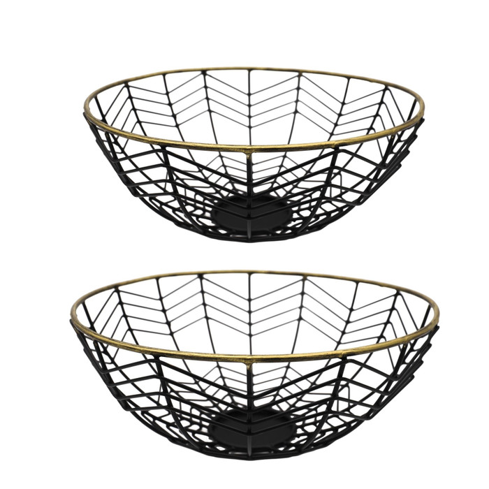 Alchemade Black With Brass Rim Baskets-Set of 2-For Open Storage Decoration