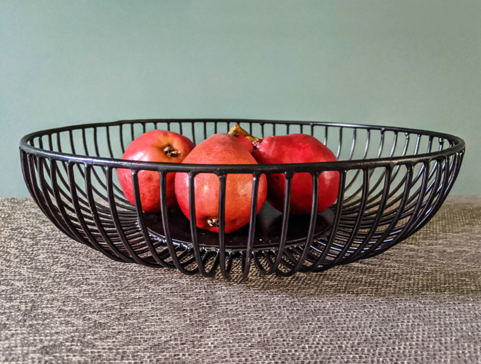 Alchemade Straight Line Black Iron Basket-For Open Storage Decoration-12 Inches x 12 Inches x 3 Inches