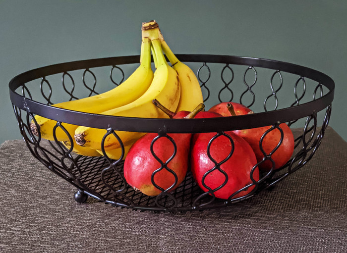 Alchemade Infinity Pattern Black Iron Basket-For Open Storage Decoration-13 Inches x 13 Inches x 4.5 Inches