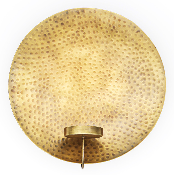 Alchemade Hammered Brass Wall Tea Light Holder-10 Inches x 10.5 Inches-Round Wall Candle Holder
