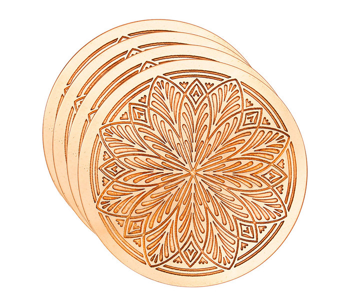 Copper Coasters with Etched Floral Design (set of 4)