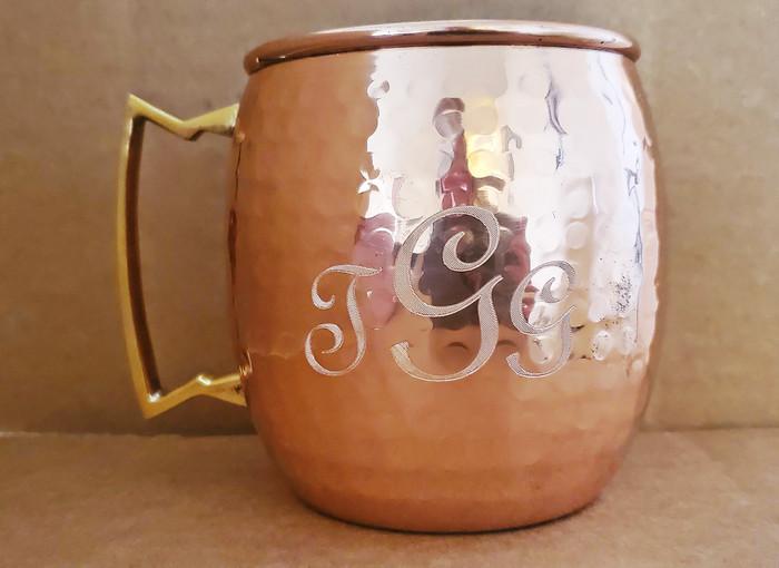 Engraved Hammered Copper Barrel Mug with Brass Handle
