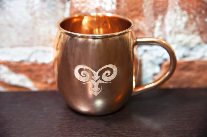 Engraved Copper Barrel Mug