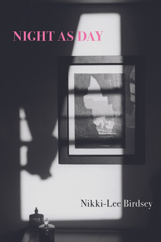 Cover of Night As Day by Nikki-Lee Birdsey. The shadow of a curtain falls on a framed picture of Piha Beach where it sits on the wall.