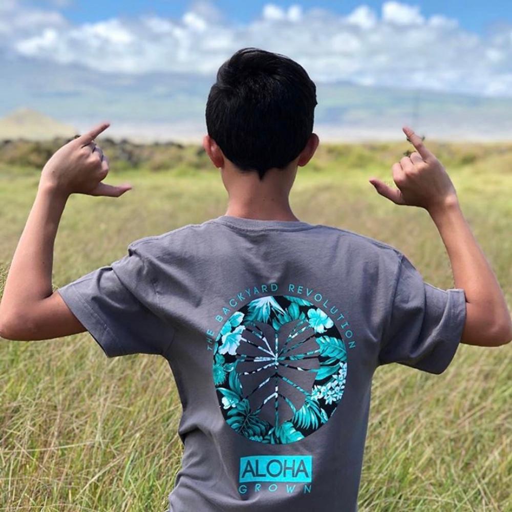 Youth Aloha Foliage Charcoal Tee