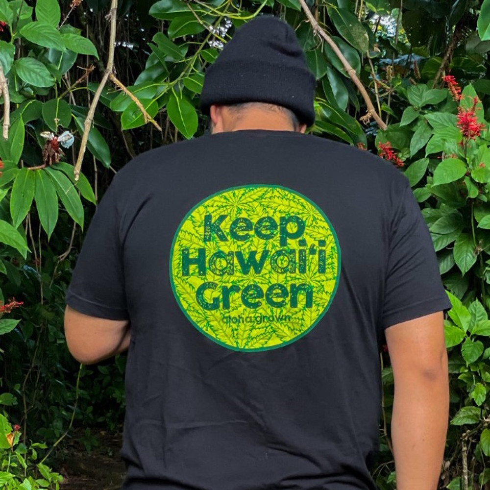 Keep Hawaii Green Tee in Black