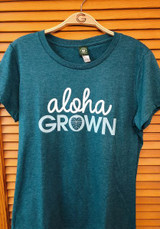 ALOHA GROWN CURSIVE TEE IN TEAL