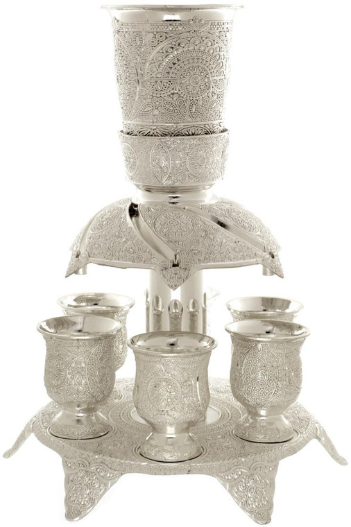 Wine Fountain - silver plate - 6 cups