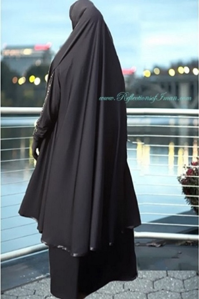 Satin Trim  Black Khimar