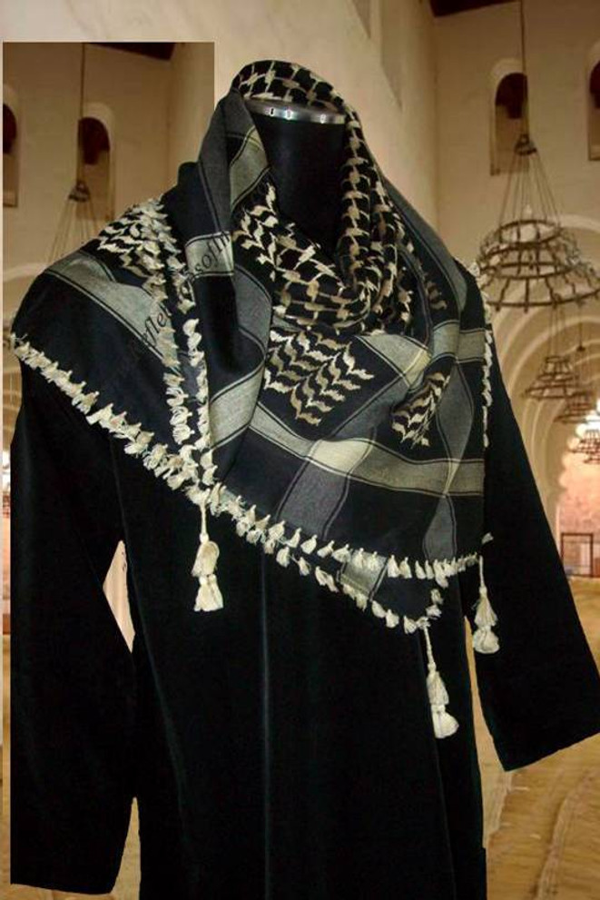 Shemagh Scarf -  Black and Cream